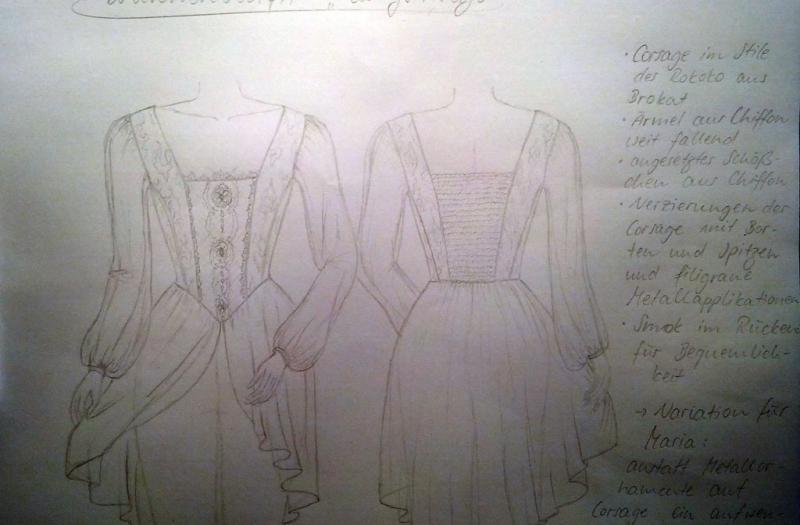 Skizze zur neuen Konzertkleidung der Ladystrings